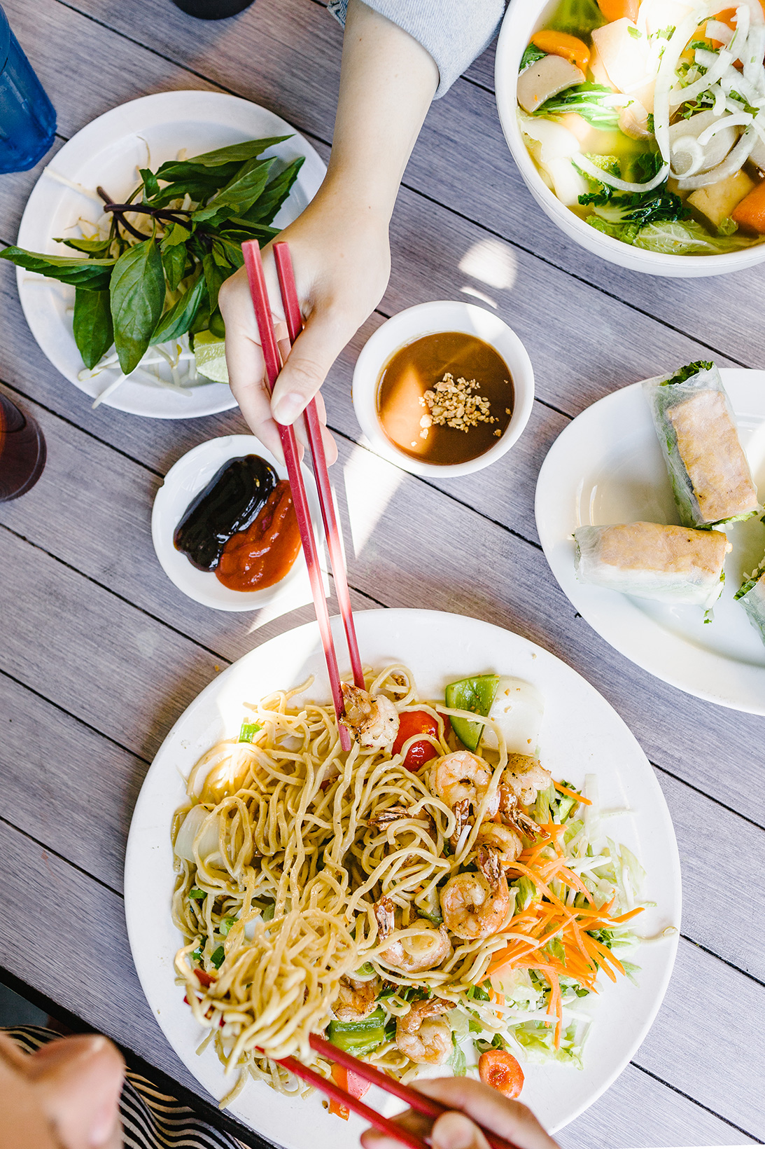 picture of Vietnamese noodle dish and spring rolls