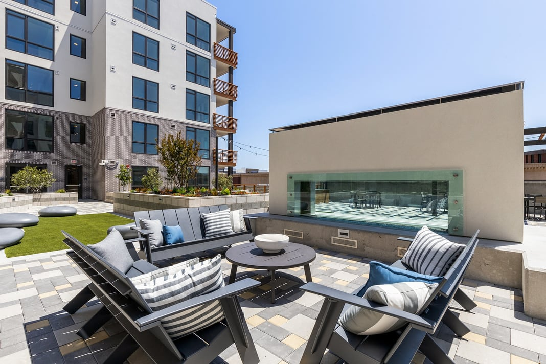 Condo patio set with a fireplace